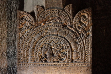 Fine carvings adorn the pillars in Ajanta caves