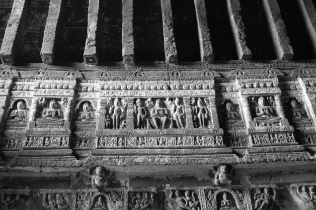 Fine details of the carvings in Ajanta caves