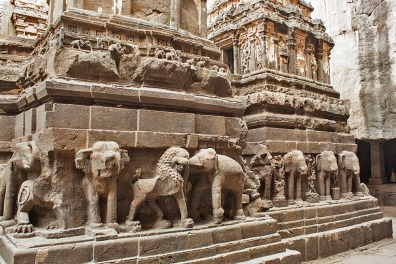 Lions and Elephants guard the temple gates